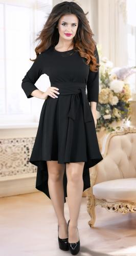 Асимметричное черное нарядное платье № 3538