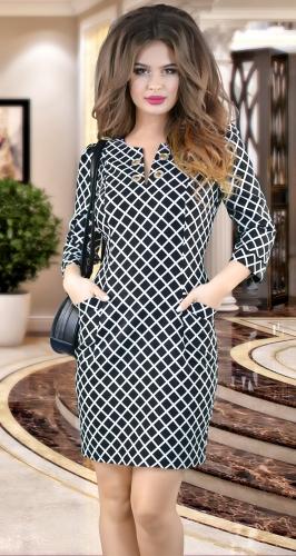 Красивое платье в косую клетку № 1393