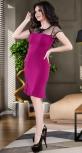 Платье с воланчиком и красивым лифом № 3598,фуксия