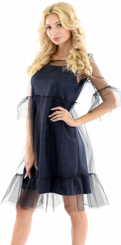 Платье № 3460SN синяя клетка (розница 520 грн.)
