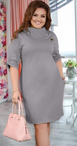 Нарядное  платье с брошью ,меланж