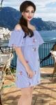 Платье с вышивкой № 13044,бело-синее