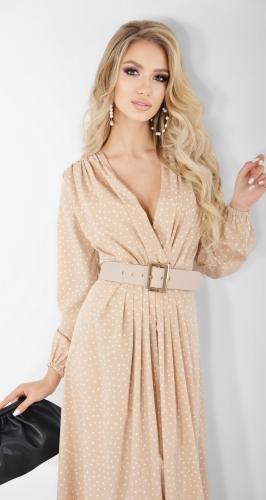 Бежевое платье в горошек