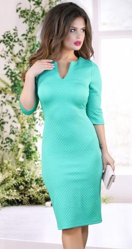 Нарядное платье  из фактурной ткани № 12545,мятное