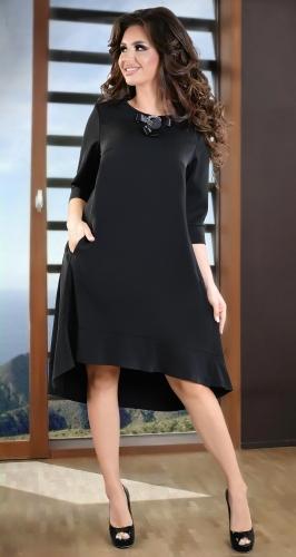 Черное повседневное платье свободного кроя