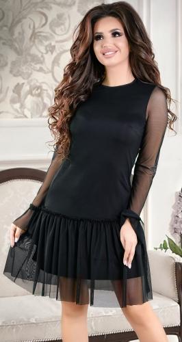 Нежное черное коктейльное платье