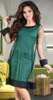 Эффектное коктейльное платье зеленого цвета