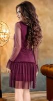 Нежное коктейльное платье цвета марсала