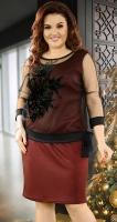 Очаровательное бордовое коктейльное платье