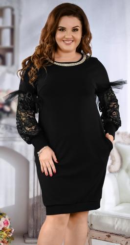 Очаровательное черное платье с гипюром № 38551