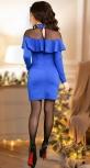 """Нарядное трикотажное платье с жемчугом  ,цвет """"королевский синий"""""""