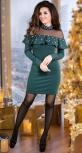 """Нарядное трикотажное платье с жемчугом  ,цвет """"изумруд"""""""