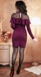 """Нарядное трикотажное платье с жемчугом  ,цвет """"марсала"""""""