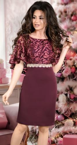 Вечернее платье с шёлковой вышивкой бордо