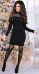 Нарядное трикотажное платье с жемчугом