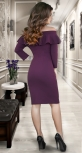 Платье соткрытыми плечами и воланом ,марсала