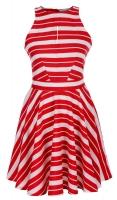 Платье № 3145S красная полоска на белом