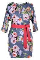 Платье № 30581S цветы на сером