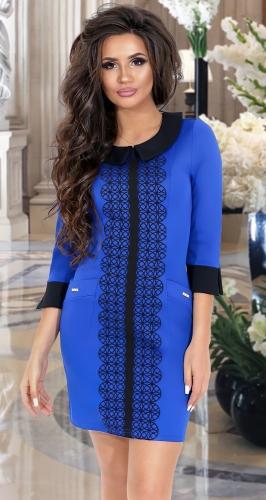 Ярко синее платье с воротничком № 1098