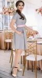 Катоновое платье № 3968,серебристое