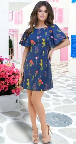 Лёгкое синее платье № 3057