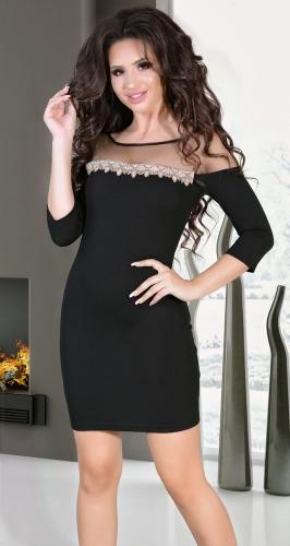 Черное вечернее платье со стразами