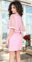 Розовое коктейльное платье с жемчужинами