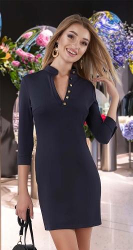 Лаконичное платье со стойкой № 3275
