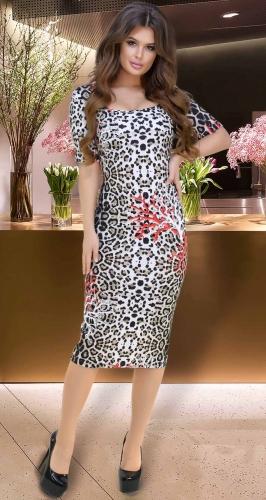 Трендовое леопардовое платье № 3327