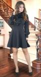 Красивое платье с расклешённой юбкой ,чёрное