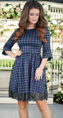 Красивое платье в клетку с пышной юбкой и отделкой по низу № 3463