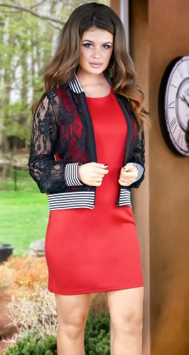 Модный костюм № 3468,красно-чёрный