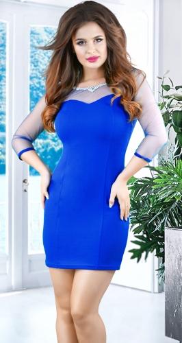 Нарядное нежное платье кристаллами № 3489 ,ярко синее