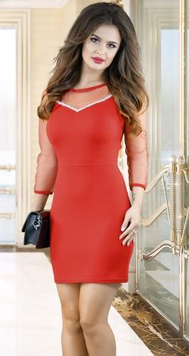 Облегающее платье с кристаллами № 3523, красное