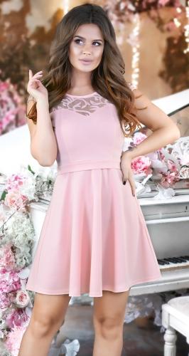 Красивое платье  с расклешённой юбкой № 35524,пудровое