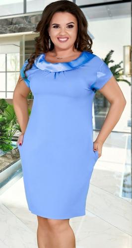 Элегантное  платье красивыми отделками № 36261,голубое