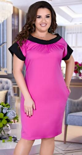 Элегантное  платье красивыми отделками № 36261,фуксия