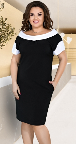 Элегантное черное платье с белыми деталями № 36261