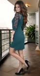 Нарядное  платье с красивыми рукавами .изумрудное
