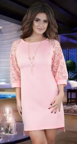 Нарядное  платье с красивыми рукавами .пудровое