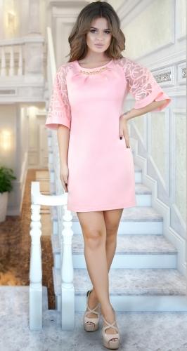 Красивое платье с необычными рукавами ,пудровое