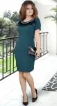 Красивое  платье с перьями,изумрудное