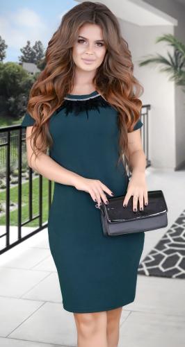 Красивое  платье с перьями № 3875 ,изумрудное