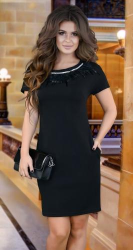 Красивое  платье с перьями № 3875,черное