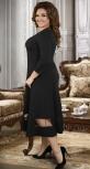 Нарядное трикотажное  платье с асимметричными линиями ,чёрное