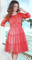 Стильное гипюровое красное платье