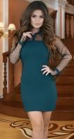 Стильное платье с воротничком , изумрудное