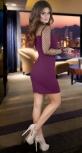 Стильное платье с воротничком , марсала