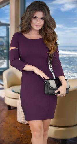 Платье с красивой спинкой , марсала