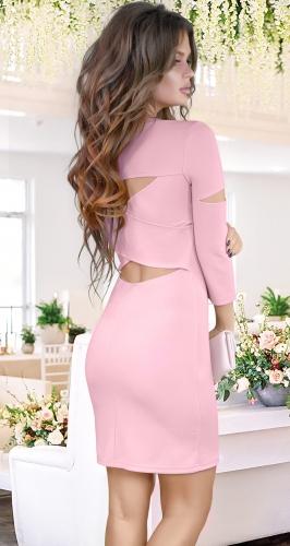 Платье с красивой спинкой , пудровое